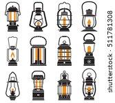 vintage lantern set isolated on ...
