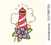 sea lifebuoy with flowers ... | Shutterstock .eps vector #511789753