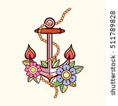 sea anchor  with flowers and... | Shutterstock .eps vector #511789828
