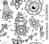 old school tattoos seamless... | Shutterstock .eps vector #511789924