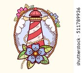 sea lifebuoy with flowers ... | Shutterstock .eps vector #511789936