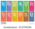 creative wall calendar 2019  ... | Shutterstock .eps vector #511796596
