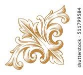 gold vintage baroque corner... | Shutterstock .eps vector #511799584