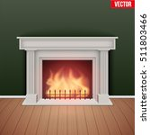 fireplace in house cozy room.... | Shutterstock .eps vector #511803466