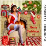 christmas pin up girl with gift ... | Shutterstock .eps vector #511805380