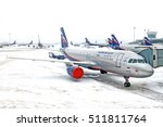 Small photo of MOSCOW, RUSSIA - CIRCA DECEMBER, 2010: Moscow airport terminal ramp apron overview on snowy weather winter day bunch of Aeroflot russian airlines Airbus Industries Airbus A320 airplanes parked to gate