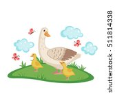 cute goose with goslings and... | Shutterstock .eps vector #511814338