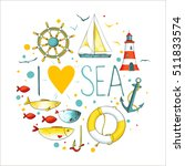 collection of nautical elements ... | Shutterstock .eps vector #511833574