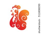 decorative fiery cock. red... | Shutterstock . vector #511838350