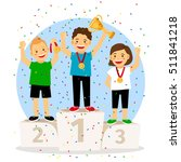 children young winner podium.... | Shutterstock .eps vector #511841218