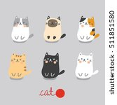 set cute cat sitting | Shutterstock .eps vector #511851580