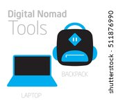 digital nomad icons  laptop and ... | Shutterstock .eps vector #511876990