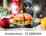 closeup image of hamburger on... | Shutterstock . vector #511886404