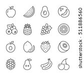 basic fruits thin line icons... | Shutterstock .eps vector #511886560