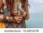 hippie girl outdoors close up | Shutterstock . vector #511891078