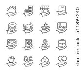 insurance thin line icon set ... | Shutterstock .eps vector #511897240