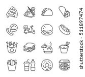 basic fast food thin line icon... | Shutterstock .eps vector #511897474