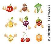 cute cartoon vegetables and... | Shutterstock . vector #511903318
