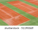 Tennis court in preparation without the net. - stock photo