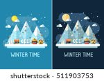 winter travel landscape with... | Shutterstock .eps vector #511903753