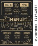 cafe menu food placemat... | Shutterstock .eps vector #511913554