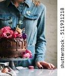 wedding cake with flowers...   Shutterstock . vector #511931218