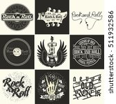 set of  monochrome rock and... | Shutterstock .eps vector #511932586