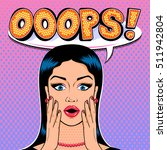 shocked woman face with speech... | Shutterstock . vector #511942804