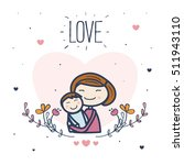 cute mother with her child.... | Shutterstock .eps vector #511943110
