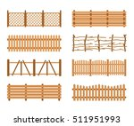set wooden fences isolated on... | Shutterstock .eps vector #511951993