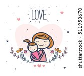 cute mother with her child.... | Shutterstock .eps vector #511953670
