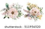 set of watercolor vintage... | Shutterstock . vector #511956520