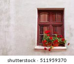 old rustic window with flowers... | Shutterstock . vector #511959370