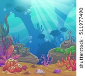 cartoon underwater vector... | Shutterstock .eps vector #511977490