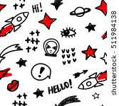 funny pattern with doodles... | Shutterstock .eps vector #511984138