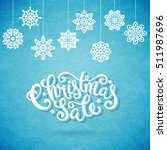 christmas sale poster with hand ... | Shutterstock .eps vector #511987696