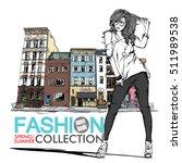 fashion girl on a street... | Shutterstock .eps vector #511989538