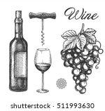 hand drawn wine elements... | Shutterstock .eps vector #511993630