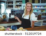smiling waitress offering cup... | Shutterstock . vector #512019724