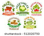 organic vegetables food emblems.... | Shutterstock .eps vector #512020750