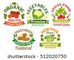 organic vegetables food emblems.... | Shutterstock .eps vector #512020750