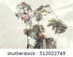 double exposure hiker into the... | Shutterstock . vector #512022769