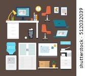 vector set of office furniture  ... | Shutterstock .eps vector #512032039