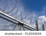 razor sharp barbed wire tops... | Shutterstock . vector #512043034