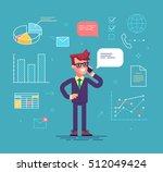 handsome man in formal suit is... | Shutterstock .eps vector #512049424