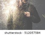 double exposure man walking in... | Shutterstock . vector #512057584