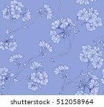 Floral Light Blue Seamless...