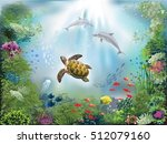 underwater world with dolphins... | Shutterstock .eps vector #512079160