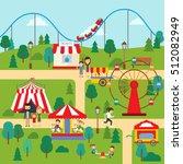 amusement park in summertime... | Shutterstock .eps vector #512082949