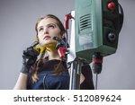 beautiful female carpenter at...   Shutterstock . vector #512089624